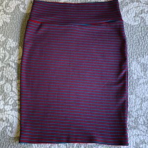 LuLaRoe Pinkish Red and Blue Stripe Cassie Skirt